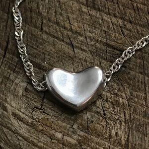 Jewelry - 925 Sterling Silver Heart Slide on Necklace